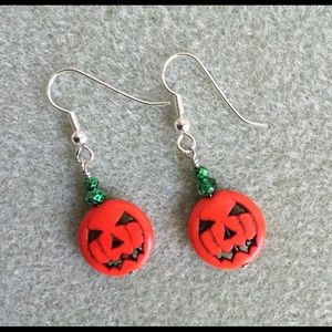 Halloween Jack O'Lantern Beaded Earrings #2